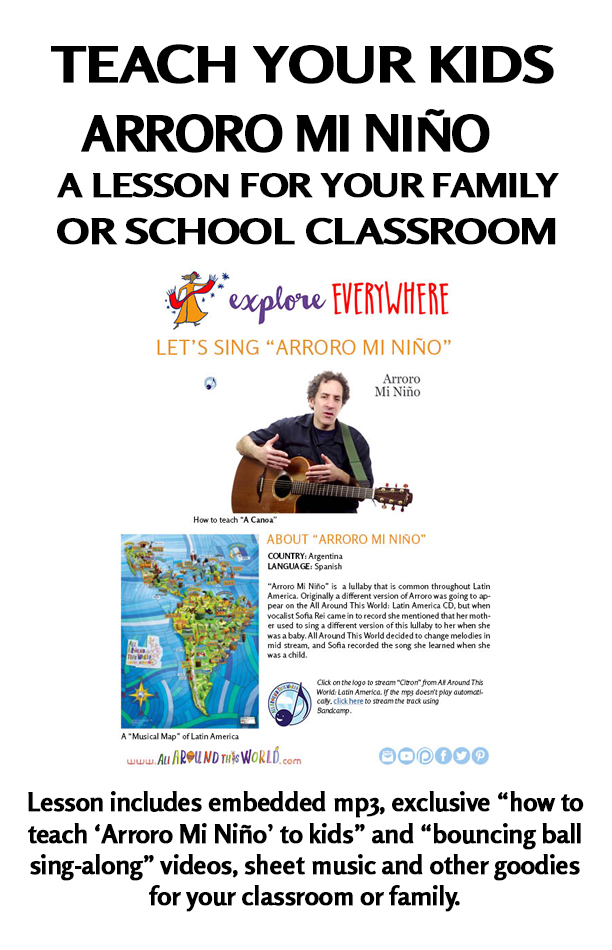 "An all Around This World classroom and homeschool lesson about Argentina -- ""Arroro Mi Nino"" -- A Spanish lullaby"