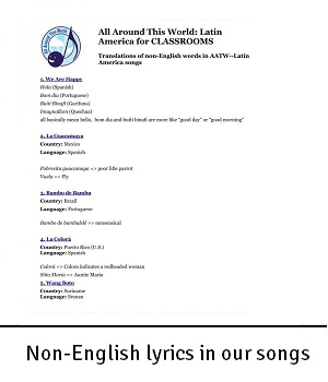 AATW--Latin America CLASSROOMS non-English words in our songs for landing2