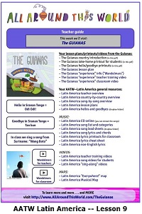 AATW--Latin America CLASSROOMS Lesson 9 -- The Guianas