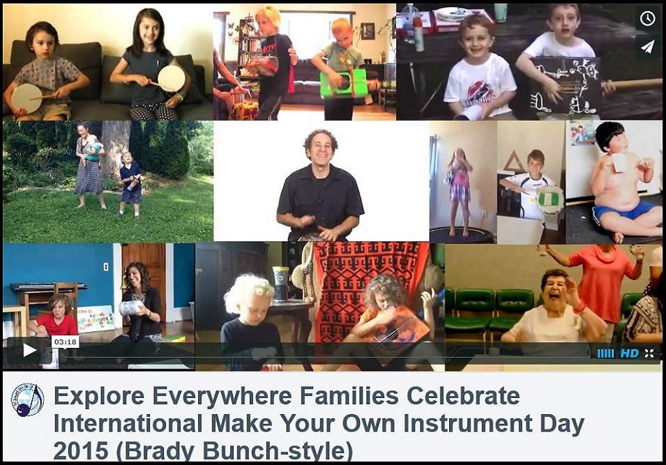 Explore Everywhere Families Celebrate Make Your Own Instrument Day 2015 (Brady Bunch-style)
